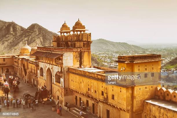 空から見たアンベール城(インド、ジャイプール)