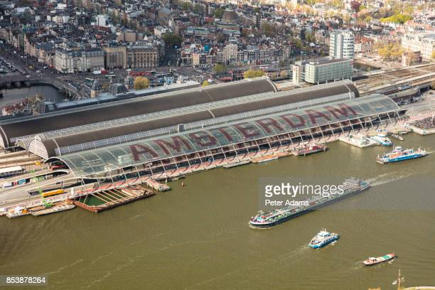 Aerial view of Amsterdam with Amsterdam Central Railway station