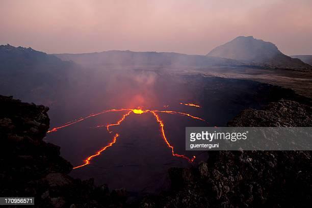 Aerial view of an erupting volcano in Erta Ale, Ethiopia