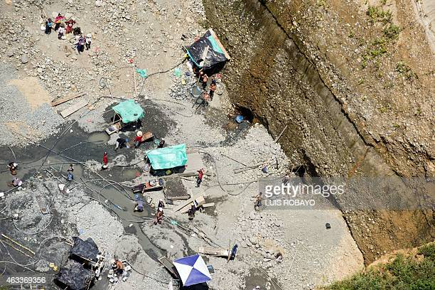 Aerial view of an illegal mining area on the banks of the Cauca river in the rural area of Santander de Quilichao department of Cauca Colombia on...