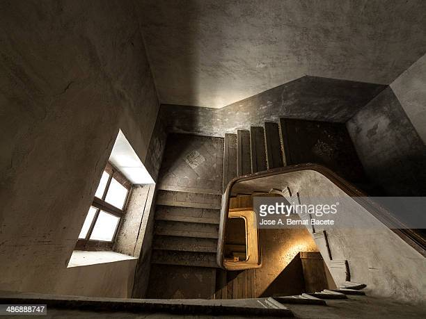 Aerial view of an old spiral staircase