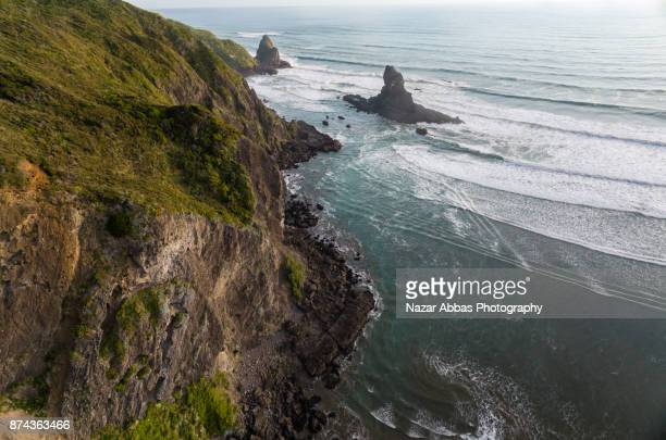 Aerial view of Anawhata Beach, Waitakere Ranges, Auckland, New Zealand.