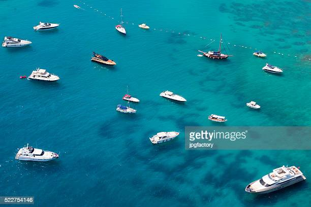 aerial view of anchored yachts