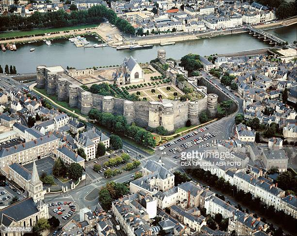 Aerial view of Angers Castle Pays de la Loire France