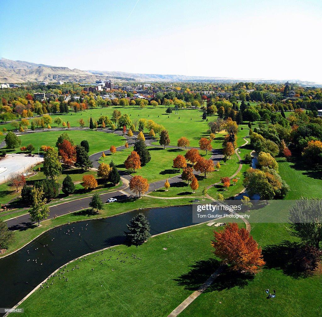 Aerial view of Ann Morrison Park in autumn