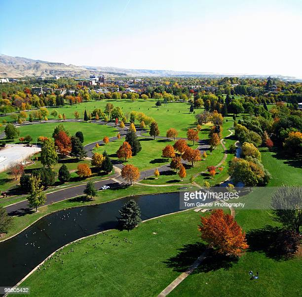 Aerial view of Ann Morrison Park in autumn