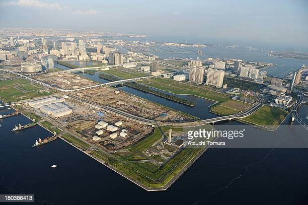 Aerial view of Ariake area which will host the Volleyball Sitting volleyball cycling and Gymnastics events during the Tokyo 2020 Olympic Games on...