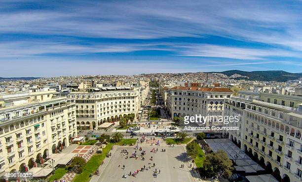 Aerial view of Aristotelous Square one of Thessaloniki's most recognizable areas which was designed by Ernest Hebrard on April 16 2015 in...