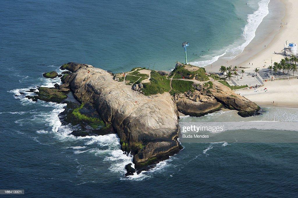 Aerial view of Arpoador Beach on April 11, 2013 in Rio de Janeiro, Brazil.