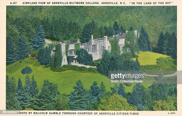 Aerial view of Asheville Biltmore College in the Land of the Sky Asheville North Carolina 1943