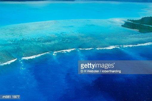 Aerial view of atoll and reefs, Aitutaki, Cook Islands, Polynesia, South Pacific, Pacific : Stock Photo