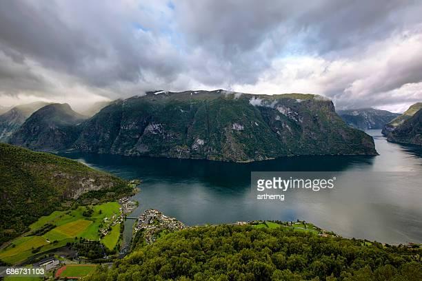 Aerial View of Aurlandsfjord From Stegastein Viewpoint, Sogn og Fjordane, Norway