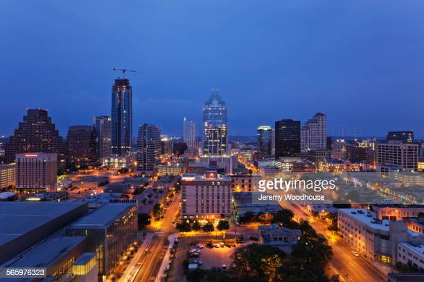 Aerial view of Austin cityscape illuminated at dusk, Texas, United States