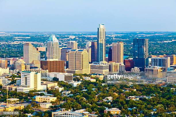 aerial view of Austin Texas skyline in late afternoon