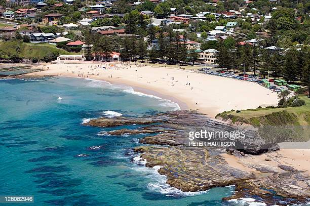 Aerial view of Austinmer Beach, New South Wales, Australia