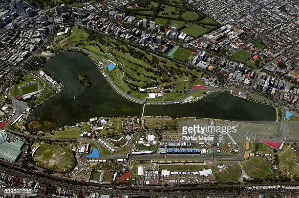Aerial view of Australian Formula One Grand Prix circuit at Albert Park Melbourne Taken 2nd February 2005 AGE SPORT Picture by NEIL NEWITT