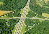 Aerial View of Autobahn Overpass