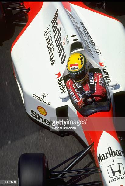 Aerial view of Ayrton Senna of Brazil in his McLaren Honda before the Monaco Grand Prix at the Monte Carlo circuit in Monaco Senna finished in first...