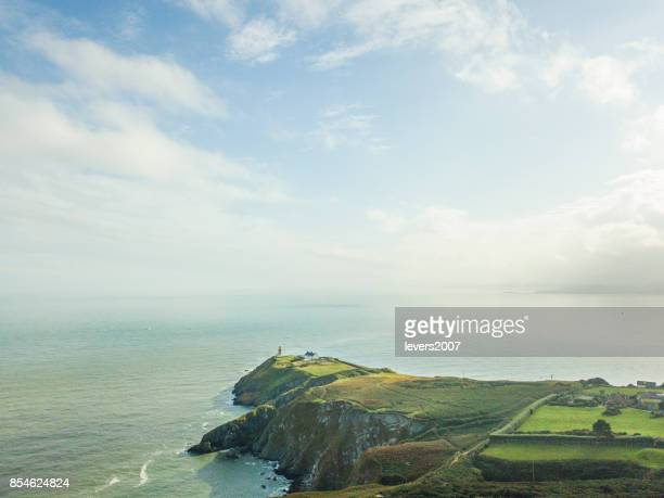 Aerial view of Baily Lighthouse, Howth Head, Dublin, Ireland.