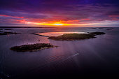 Beautiful aerial view of Baltic Sea and islands in sunset.