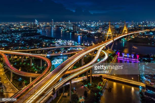 Aerial view of Bangkok at Bhumibol bridge in the center area of Bangkok, Bangkok city downtown with business area in Thailand.