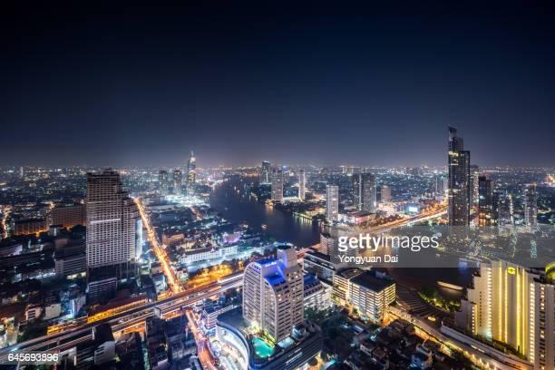 Aerial View of Bangkok at Night