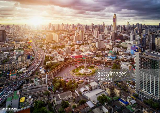 Aerial view of Bangkok at Victory Monument in the center area of Bangkok, Bangkok city downtown with business area in Thailand.