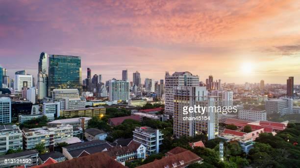 Aerial view of Bangkok City at Siam square.