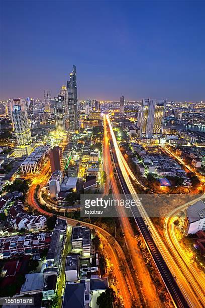 Aerial view of Bangkok city skyline at night