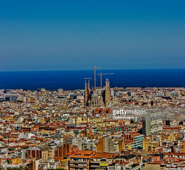 Aerial view of Barcelona cityscape in Spain in summertime
