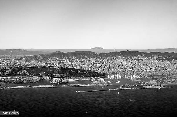 Aerial view of Barcelona in black and white