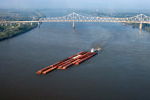 Aerial view of barge on Mississippi River, Louisiana