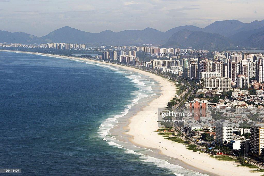 Aerial view of Barra Beach on April 11, 2013 in Rio de Janeiro, Brazil.