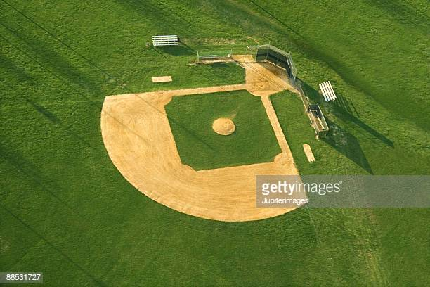 Aerial view of baseball diamond
