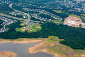 Aerial View of Baseball Fields taken from Flying Airplane on Blur Background