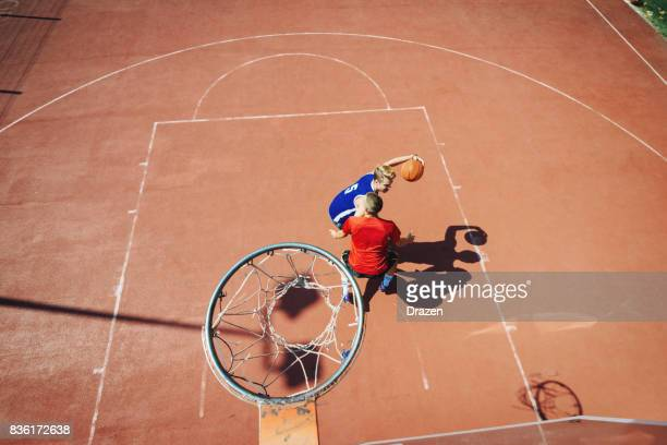 Aerial view of basketball players