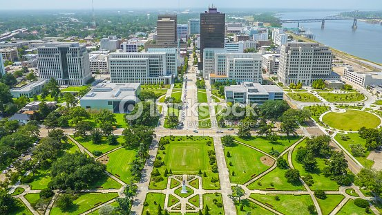 Aerial view of Baton Rouge city : Stock Photo