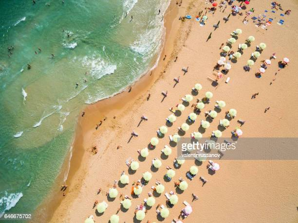 Aerial view of beach with tourists on vacations
