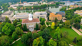Aerial View of Beautiful College Campus, Lawrence University in Appleton Wisconsin.