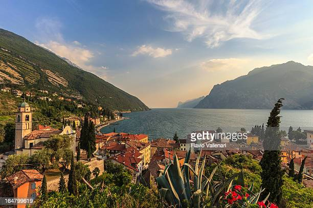 Aerial view of beautiful town of Torbole, Lake Garda