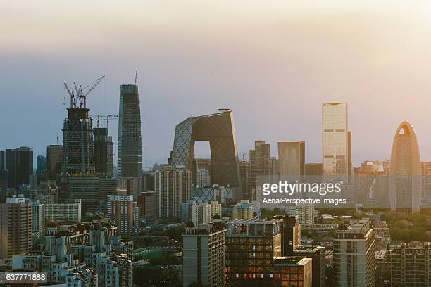 Aerial view of Beijing CBD area at Sunset