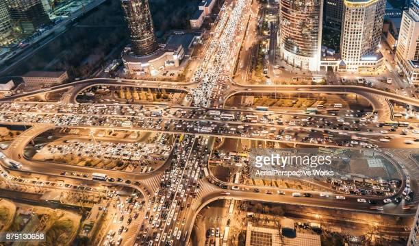 Vue aérienne de Pékin bondés embouteillage
