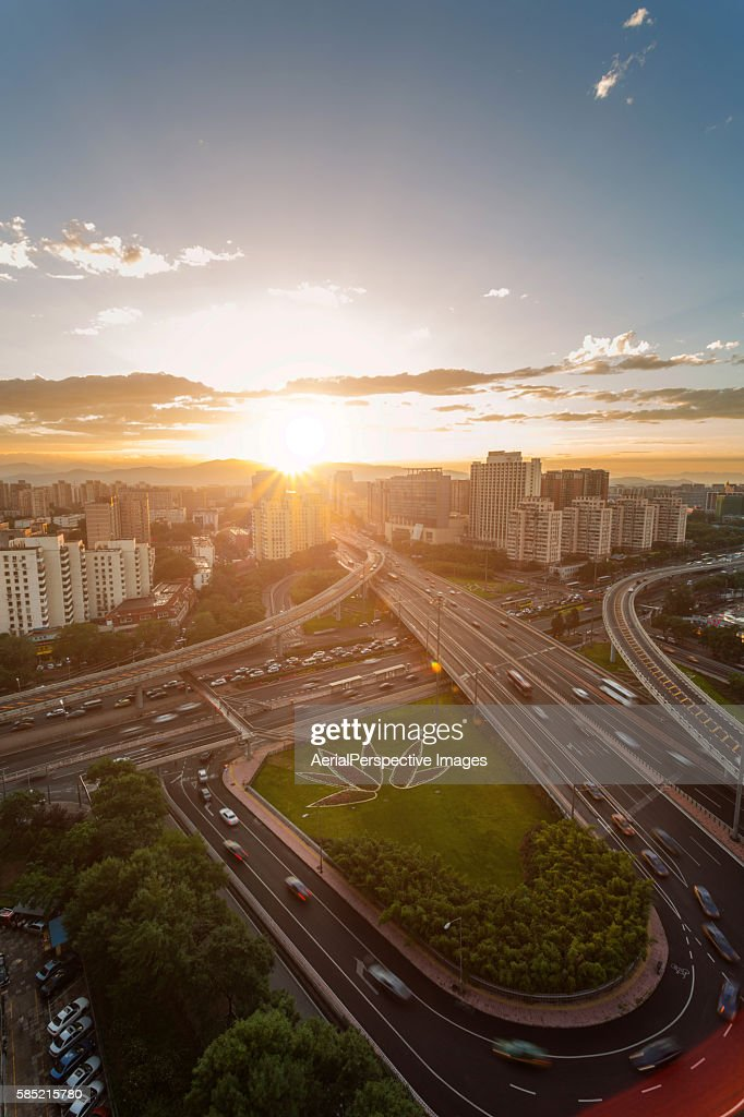 Aerial View of Beijing Highway at Sunset