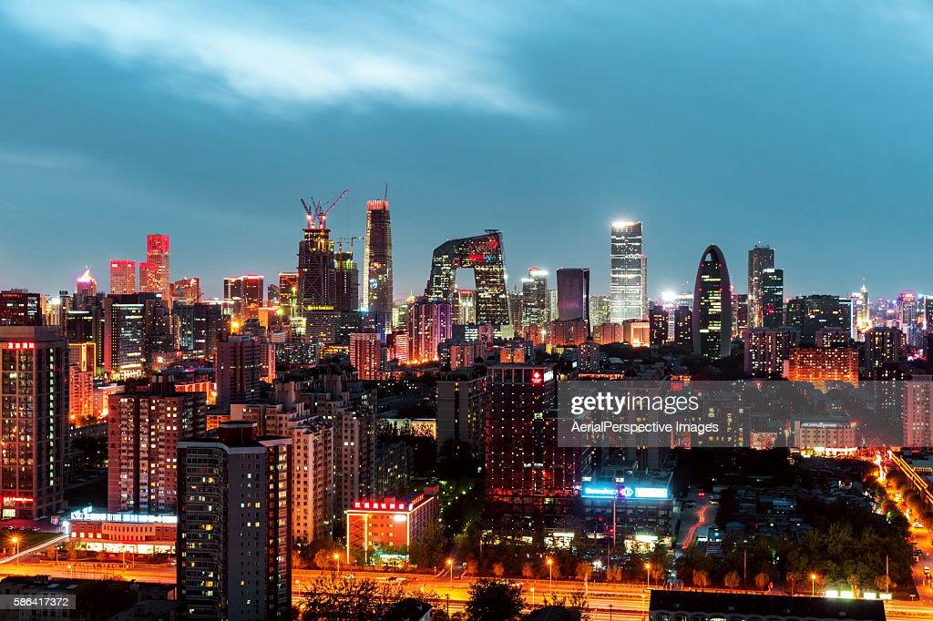 Aerial View of Beijing Skyline at Night
