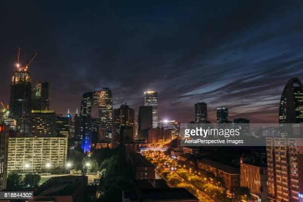 Aerial View of Beijing Skyline, Night