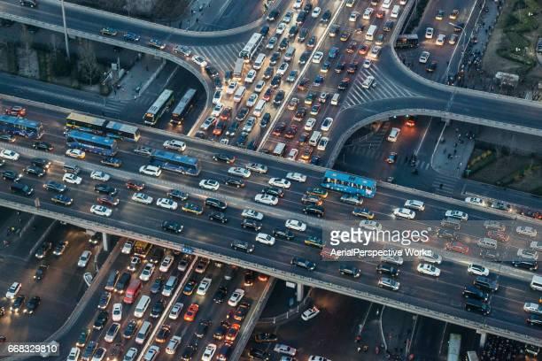 Aerial View of Beijing Traffic Jam at Dusk