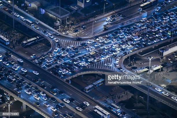 Aerial View of Beijing Traffic Jam