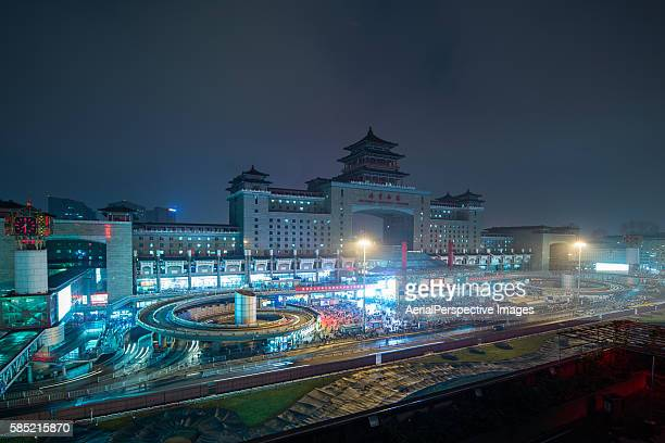 Aerial View of Beijing West Railway Station at Night