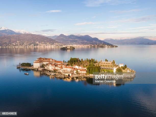 Aerial view of Bella island on lake Maggiore, Italy