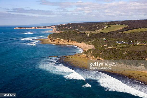 Aerial view of bells Beach, Victoria.